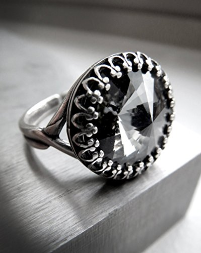 Amazon.com  Black Night Cocktail Ring with Swarovski Crystal ... 59c564176442