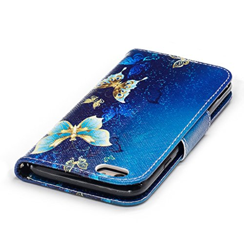 """Crisant blauer Schmetterling Drucken Design schutzhülle für Apple iPhone 6 Plus / 6S Plus 5.5"""" (5,5''),PU Leder Wallet Handytasche Flip Case Cover Etui Schutz Tasche mit Integrierten Card Kartensteckp"""