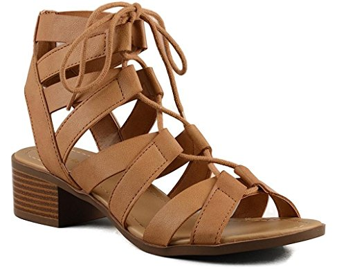 (CITY Classified Mousse Strappy Lace up Low Heel Sandal Tan 7.5)