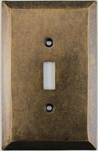 Jumbo Stamped Aged Antique Brass One Gang Toggle Light Switch Wall Plate by Classic Accents