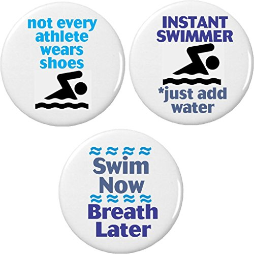 Set 3 Swimmer Athlete Funny Humor Cute Sayings 1.25