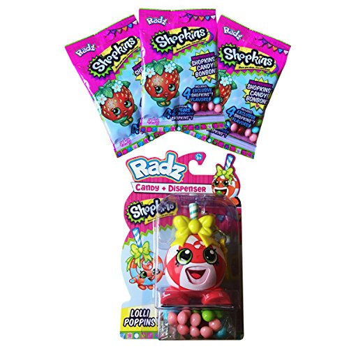 Shopkins Lolli Poppins Toy Candy Dispenser with 3 Packs of Refill Candy Gluten & Peanut FREE