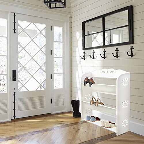DL furniture - Multi Tier Shelf Display Storage Wood Closet Organizer Multi Units Deluxe Free Stand Shelving Shelves Rack Curve Cabinet (White - 3 Tiers Wide)