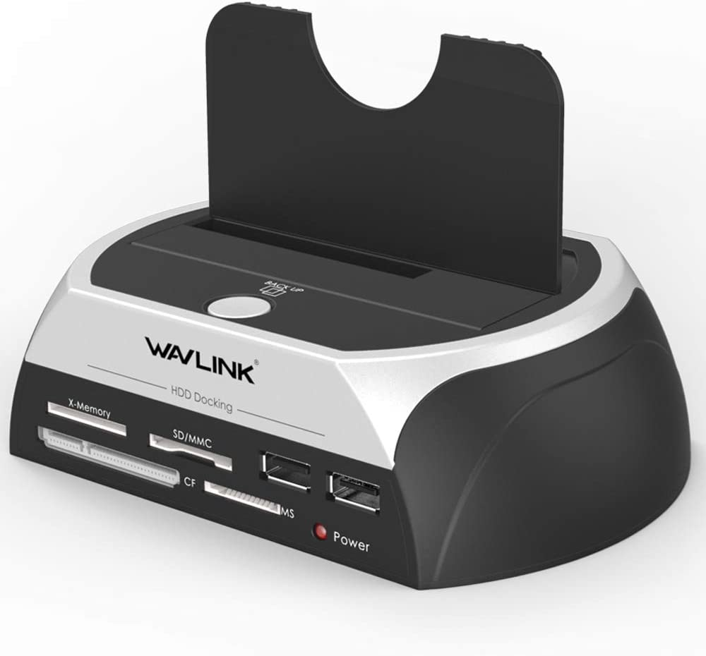 WAVLINK USB 2.0 to SATA External Hard Drive Docking Station with 2 USB 2.0 HUB and TF & SD &MS Card for 2.5 inch/3.5 Inch HDD,SSD Support Backup/UASP Functions [ 8TB ]