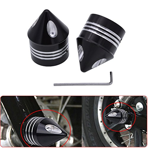 Axle Bolt Covers - KaTur Motorcycle Black Deep Cut Front Axle Cap Nut Cover for Harley Dyna Softail Sportster Touring Road King FXD FXST FLHT 883 1200 XL