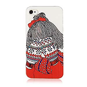Original Cartoon Fashion Girl Facepalm Pattern Transparent Frame Back Case for iPhone 4/4S