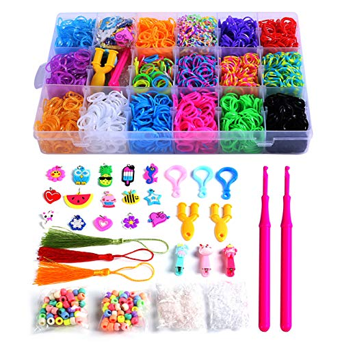 PENGXUAN Rainbow Color Rubber Loom Bands Refills Kit Set Storage Box For Kids Party DIY Crafting Bracelets Toys Gifts -Including 5800 Pcs Rubber Loom Bands 300 Pcs Slips 100 Beads 15 Charms and More ()