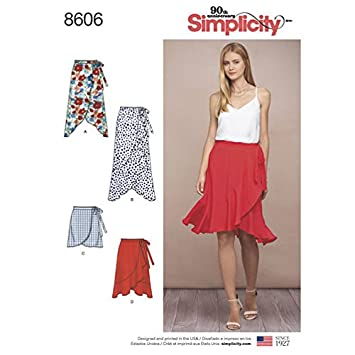 Amazon.com: Simplicity Pattern 8606 Misses\' Wrap Skirt in Four ...