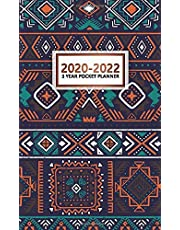 3 Year Pocket Planner 2020-2022: Monthly Organizer & Calendar with Phone Book, Password Log & Notebook - Three Year Agenda  & Diary with Inspirational Quotes - African Ethnic Tribal Pattern