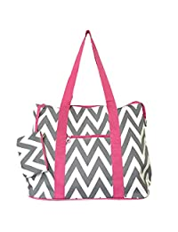 Ever Moda Chevron Print Extra Large Tote Bag, Grey and White with Pink Trim