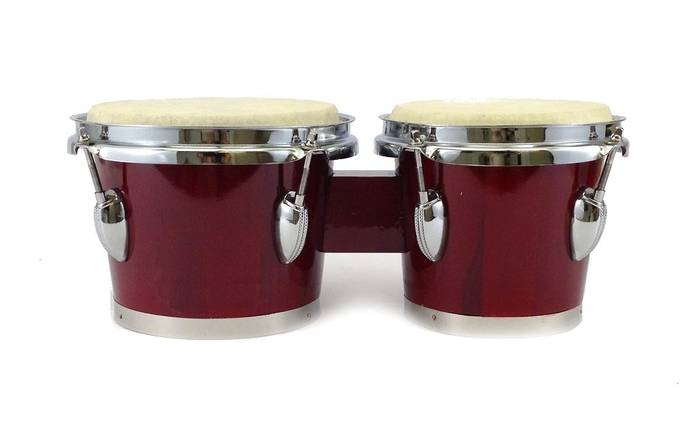 BONGOS 7'' + 8'' inch DARK RED WOOD DUAL DRUMS SET - WORLD LATIN Percussion - NEW