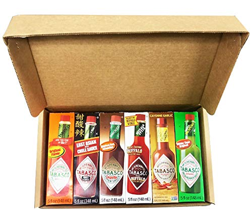 (Tabasco Hot Sauce 6 Flavor Variety Gift Pack, 5 ounce bottles in gift box, Original, Buffalo, Jalapeno, Chipotle, East Asian Sweet & Spicy and Cayenne Garlic)