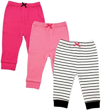 Luvable Friends Baby Cotton Tapered Ankle Pants, Girl Black Stripe 3 Pack, 2 Toddler