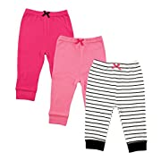 Luvable Friends Baby Toddler Cotton Tapered Ankle Pants, Girl Black Stripe 3 Pack, 2T