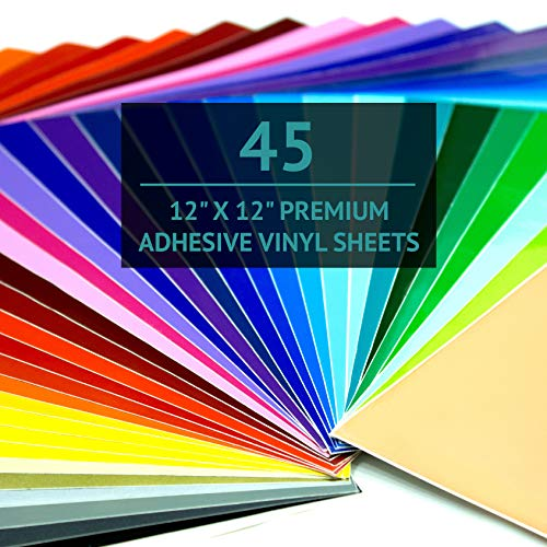 "(Bright Idea Premium Permanent Self Adhesive Craft Vinyl Sheets - 45 Pack 12""x12"" 