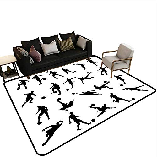 Carpet Liner for Carpet Soccer,Football Player Silhouettes Goalkeeper Striker Shooting Heading Volleying Saving,Black White ()