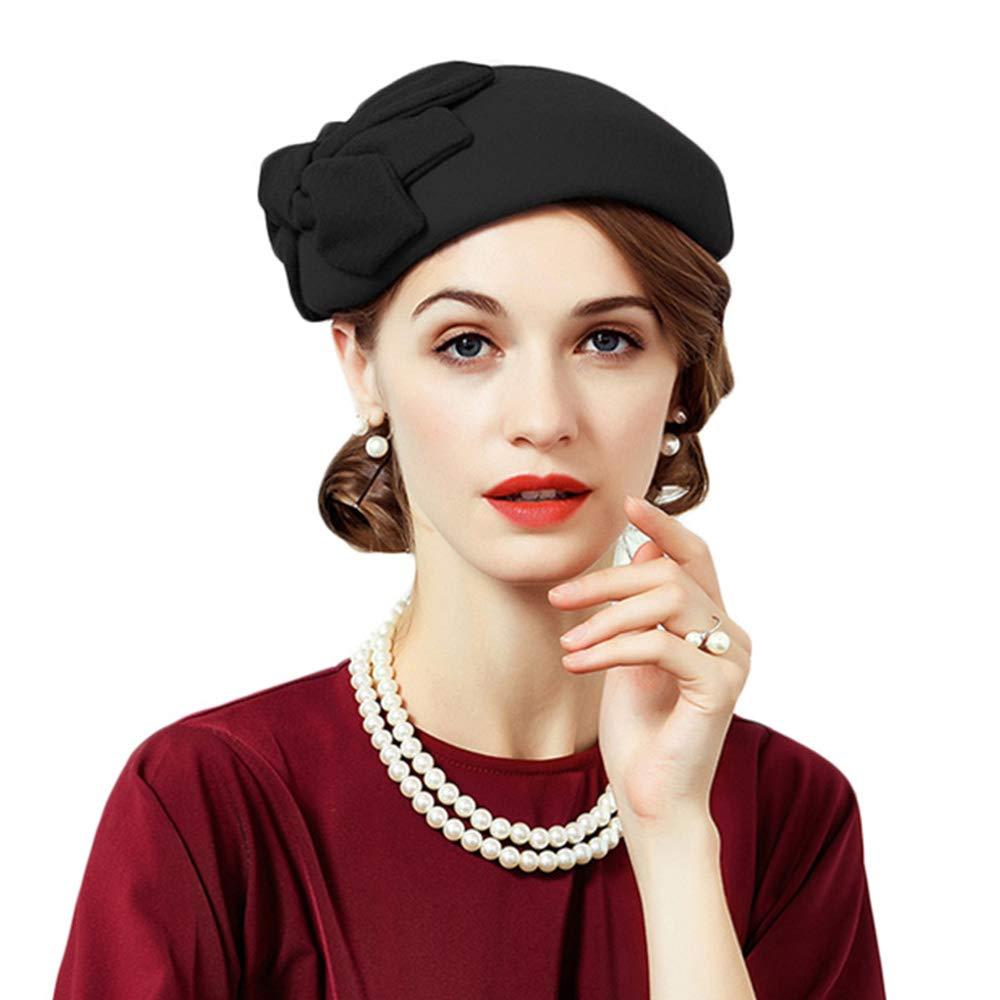 F FADVES Women's Pillbox Hat Formal Vintage Wedding Tea Party Fascinators with Bow (Black)