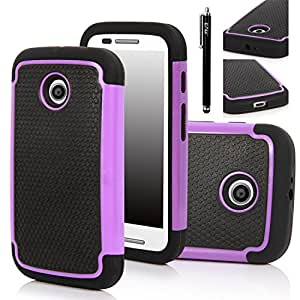 Moto E Case, Motorola E Case - E LV Motorola Moto E Case Cover Shock-Absorption / High Impact Resistant Hybrid Dual Layer Armor Defender Full Body Protective Case Cover for Motorola Moto E XT1021 / XT1022 / XT1025 with 1 Stylus and 1 E LV Microfiber Digital Cleaner (Purple)