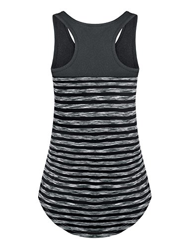 Dimildm Racerback Tank Tops for Women, Juniors Workout Clothes Vintage Scoop Neck Athletic Wear Fitness Exercise Shirts Tee Sleeveless Loose Fit Tunic Tank Top (Carbon Grey,M) by Dimildm (Image #2)