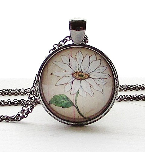 - April Flower of the Month Necklace Pendant Daisy Round Glass Wearable Art Pendant