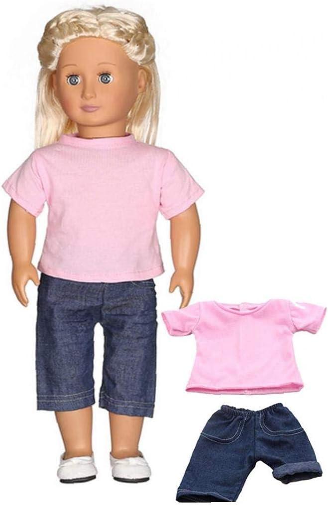 TOPofly Camiseta de la mu/ñeca Casual Jeans Set de 2 Unidades de la mu/ñeca de la t/écnica Ropa para 18 mu/ñecas Ropa para la Comodidad de la Vida