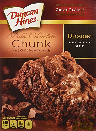 Duncan Hines Decadent Brownie Mix, Milk Chocolate Chunk, 17.6 Ounce (Pack of 6)