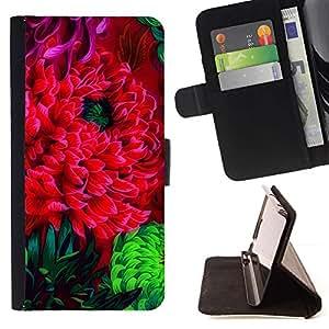 Momo Phone Case / Flip Funda de Cuero Case Cover - Flor de la flor Rojo Verde Arte de la acuarela - Huawei Ascend P8 (Not for P8 Lite)