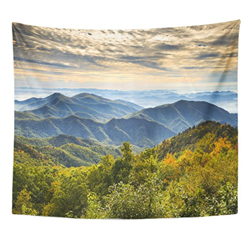 Emvency Tapestry Blue Ridge Parkway National Park Sunrise Scenic Mountains Autumn Home Decor Wall Hanging for Living Room Bedroom Dorm 50x60 inches