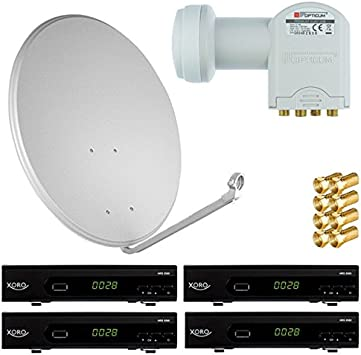 4 participantes satélite (Antena Parabólica 80 cm espejo + Quad LNB Opticum + 4 pieza HD Receptor de satélite (3 colores seleccionables)