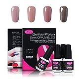 Nail Polish Last Longer CLAVUZ Soak Of UV LED Gel Nail Polish,4pcs Nude Colors Collection Kit New Start Manicure Nail Art Kits Gift Sets