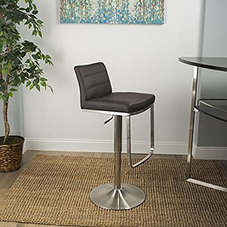 MIX Brushed Stainless Steel Faux Leather Brown Adjustable Height Swivel Bar Stool With Round Trumpet Base