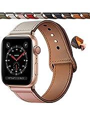 Qeei Lederen Bandje Compatible Met Apple Watch 44mm 42mm 40mm 38mm,Innovatief Verborgen Gespen Echt Lederen Horlogebanden Reservebandjes for IWatch Se Series 6 5 4