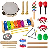 Kmise Toddler Musical Instruments Toys for Kids, 24 Pcs 13 Types, Wood Percussion with Tambourine, Maraca, Bell, Xylophone, Preschool Educational Learning Kit