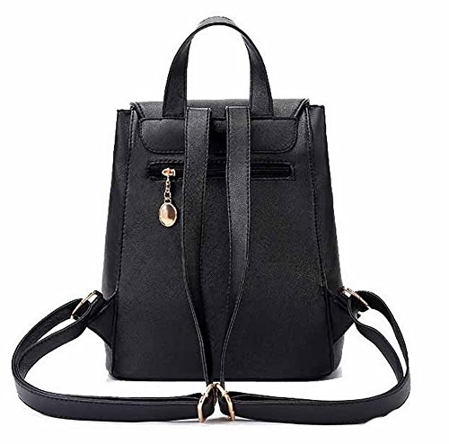 Daypacks Daypack à TSFBH180630 Femme AalarDom Randonnée Dos Sacs de Noir Cuir PU w0Y1Z6