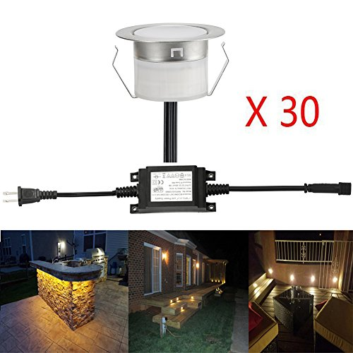 FVTLED Low Voltage 30pcs LED Deck Lights Kit 1-3/4
