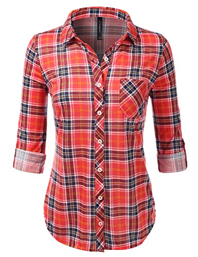 JJ Perfection Womens Long Sleeve Knit Plaid Collared Checkered Blouse Shirt REDNAVY S ()