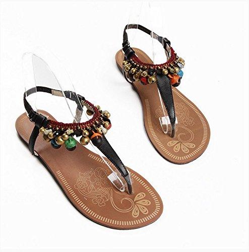 Zapatos de estilo popular hecha a mano cuentas Tongling chanclas de cuero y femenino libre del verano Black