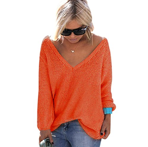 Pull Maille Femme Pull Tunique Oversize Manches Longues Col V Ample Chaud Hiver Epais Pull Sweater Loose Large Tricot Chandail Jumper Chandails Tops Automne Orange