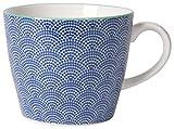 Now Designs Waves Stamped Mugs (Set of 6), 12 oz, White/Blue