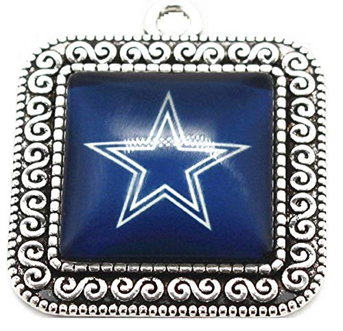 BAS Dallas Cowboys Square Filial Charm with Glass Pendant for Bracelets or Necklaces 1 inch by 1 inch -