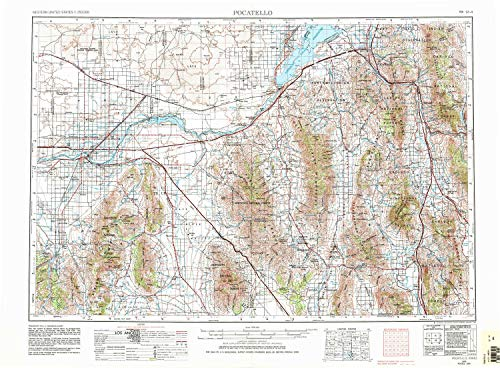 YellowMaps Pocatello ID topo map, 1:250000 Scale, 1 X 2 Degree, Historical, 1954, Updated 1983, 22.1 x 30.1 in - Polypropylene