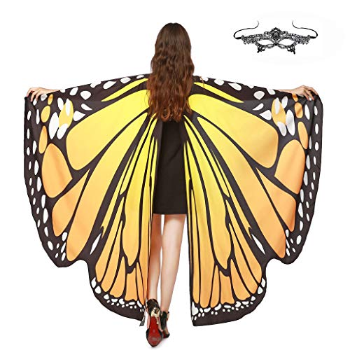GRACIN Halloween Butterfly Wings Shawl Soft Fabric Fairy Pixie Costume Accessory (Choker Ties, Yellow(with Matching mask))