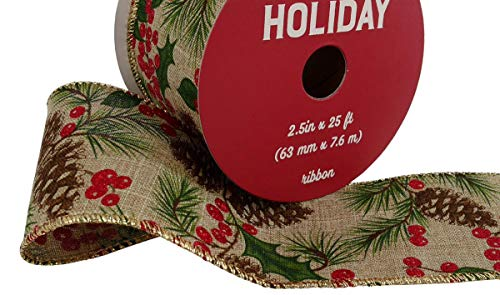 - Pine Cone Berry Glitter Ribbon 2.5