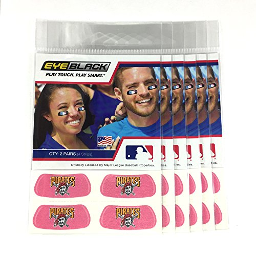 (24 Strips) Eye Black - Pittsburgh Pirates Pink MLB Eye Black Anti Glare Strips, Great for Fans & Athletes on Game Day]()
