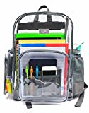 Heavy Duty Clear Backpack with Laptop Sleeve and Security Pocket,Sturdy Stitches Using Durable Military Grade Nylon, Size 17''x11.5'', Transparent/Unisex for School, Work,Stadium, etc.