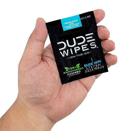 DUDE-Wipes-Flushable-Wet-Wipes-Individually-Wrapped-for-Travel-Unscented-with-Vitamin-E-Aloe-100-Biodegradable-1-Pack-30-Wipes