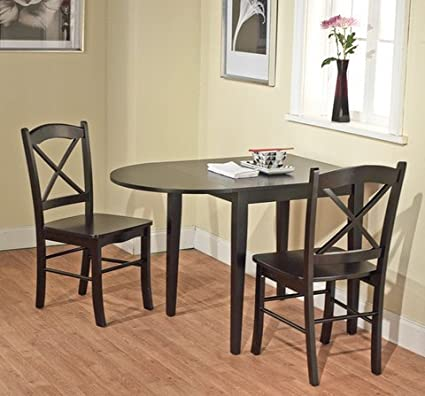 Amazon Com Country Cottage Black Wooden Drop Leaf Dining Room Or