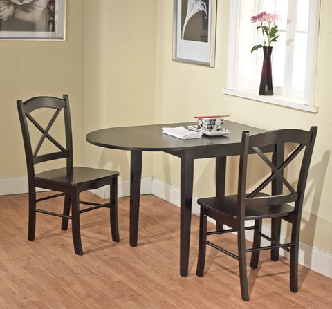Simple Living Products Country Cottage Black Wooden Drop Leaf Dining Room or Kitchen Table - Oval Drop Leaf Table