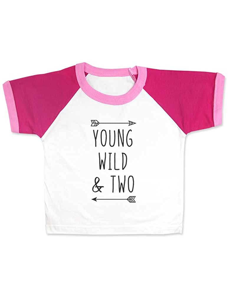 bb40e528 Amazon.com: cute & funny Young Wild & Two - Cool Boho Birthday Shirt 2nd  Age 2 Two Year Old - Raglan Color Block Girls T-Shirt: Clothing