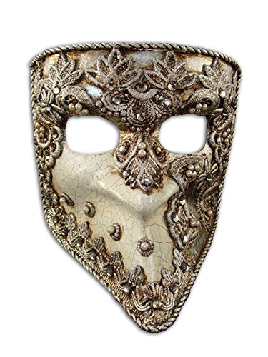 Luxury Venetian Half Face Mask Bauta Mac Craquele with Macrame and Swarovski Crystals for Men (Silver)